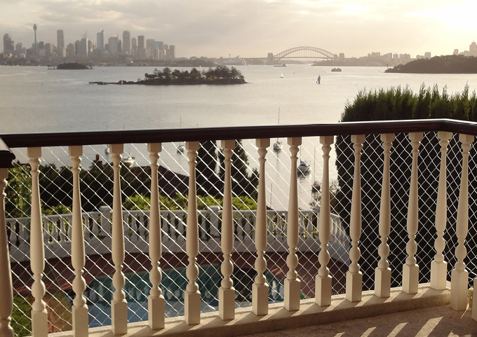 balcony protected with safety nets in Vaucluse, Sydney
