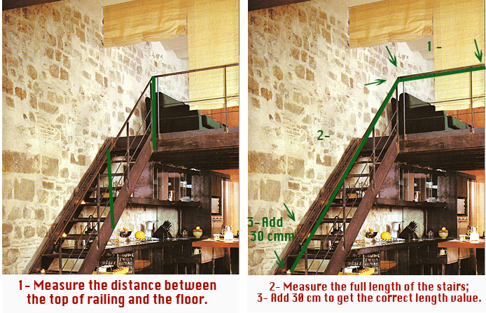 measure stairs railing